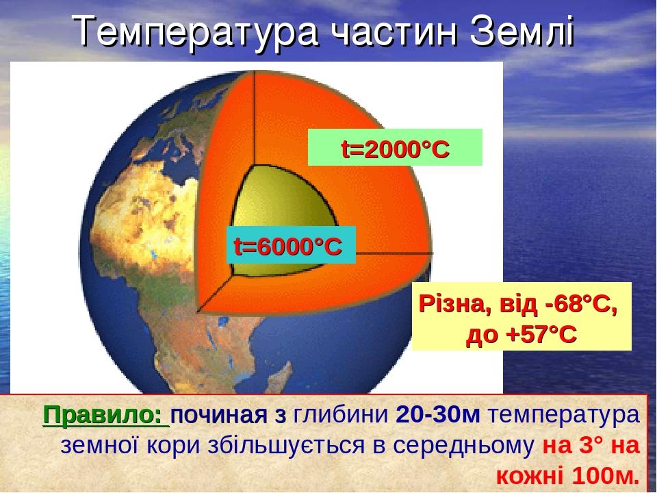 Температура частин Землі t=2000°С t=6000°С Різна, від -68°С, до +57°С Правило: починая з глибини 20-30м температура земної кори збільшується в сере...