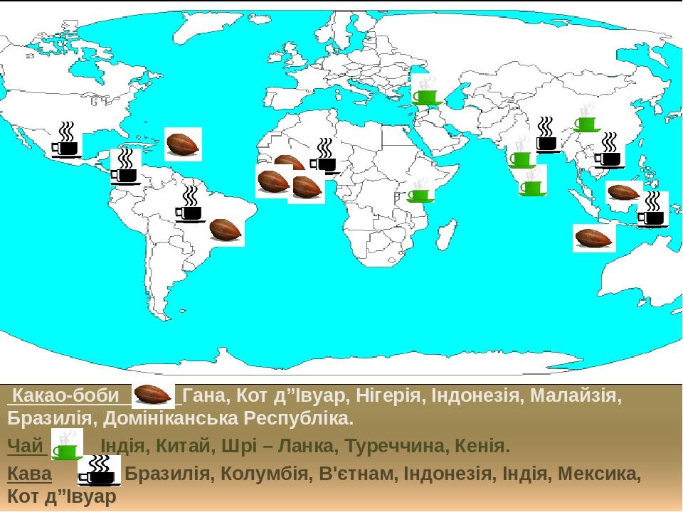 """Какао-боби Гана, Кот д""""Івуар, Нігерія, Індонезія, Малайзія, Бразилія, Домініканська Республіка. Чай Індія, Китай, Шрі – Ланка, Туреччина, Кенія. Ка..."""