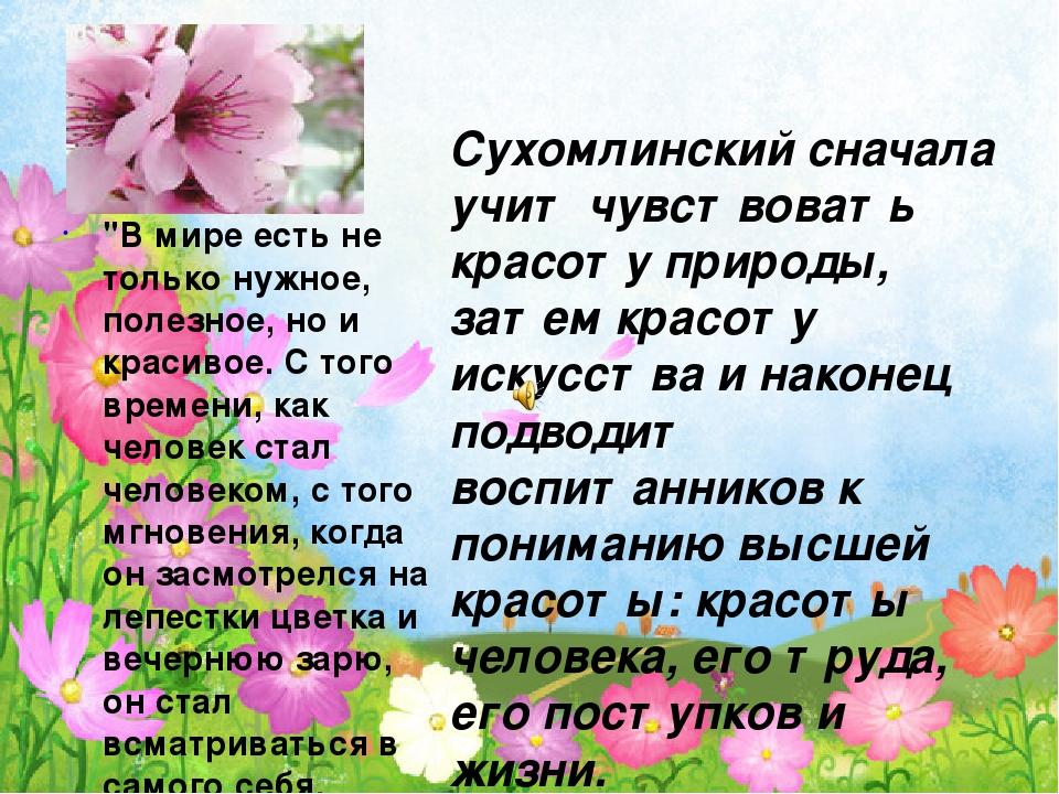 Сухомлинский сначала учит чувствовать красоту природы, затем красоту искусства и наконец подводит воспитанников к пониманию высшей красоты: красоты...