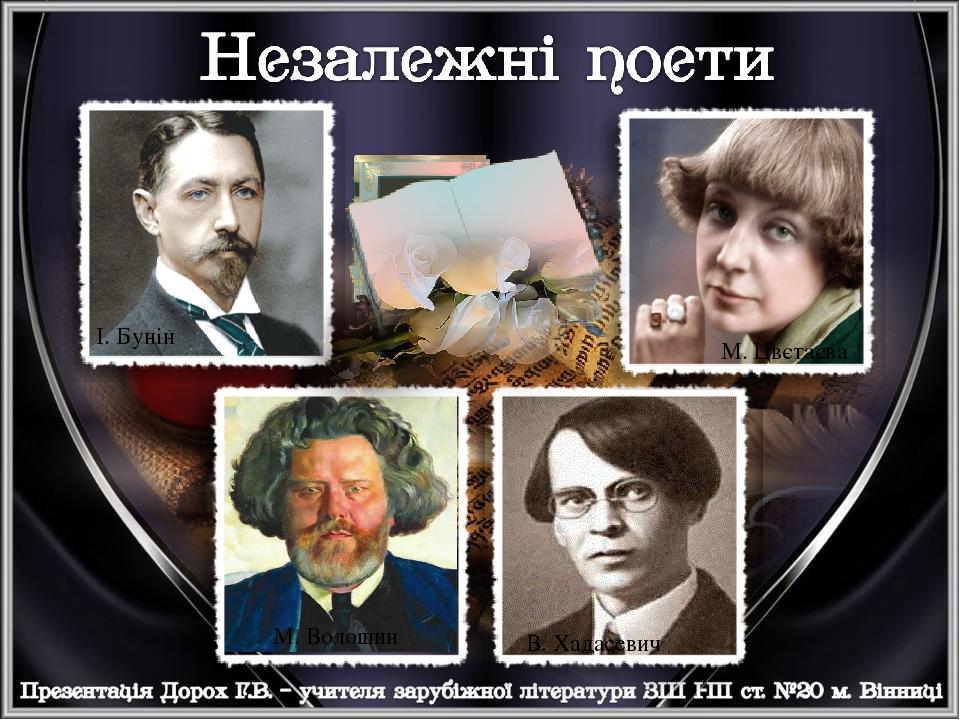 І. Бунін М. Цвєтаєва М. Волошин В. Хадасевич