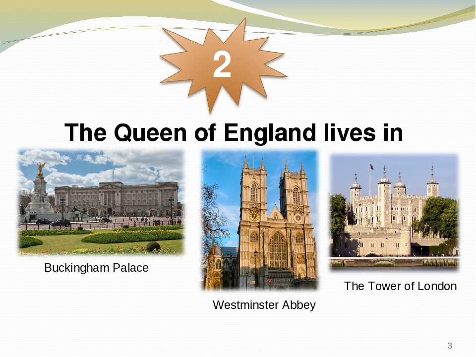 The Queen of England lives in Westminster Abbey The Tower of London Buckingham Palace *