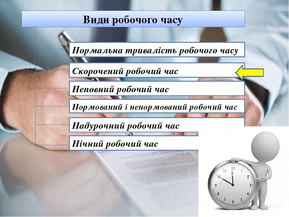 Види робочого часу Нормальна тривалість робочого часу Скорочений робочий час Неповний робочий час Нормований і ненормований робочий час Надурочний ...