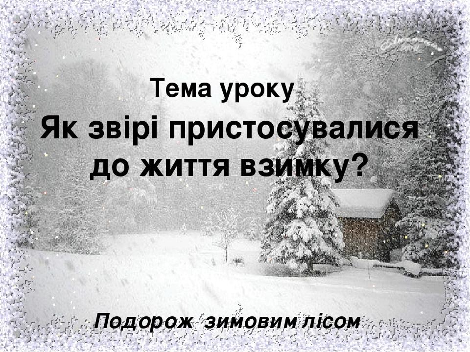 Тема уроку Як звірі пристосувалися до життя взимку? Подорож зимовим лісом