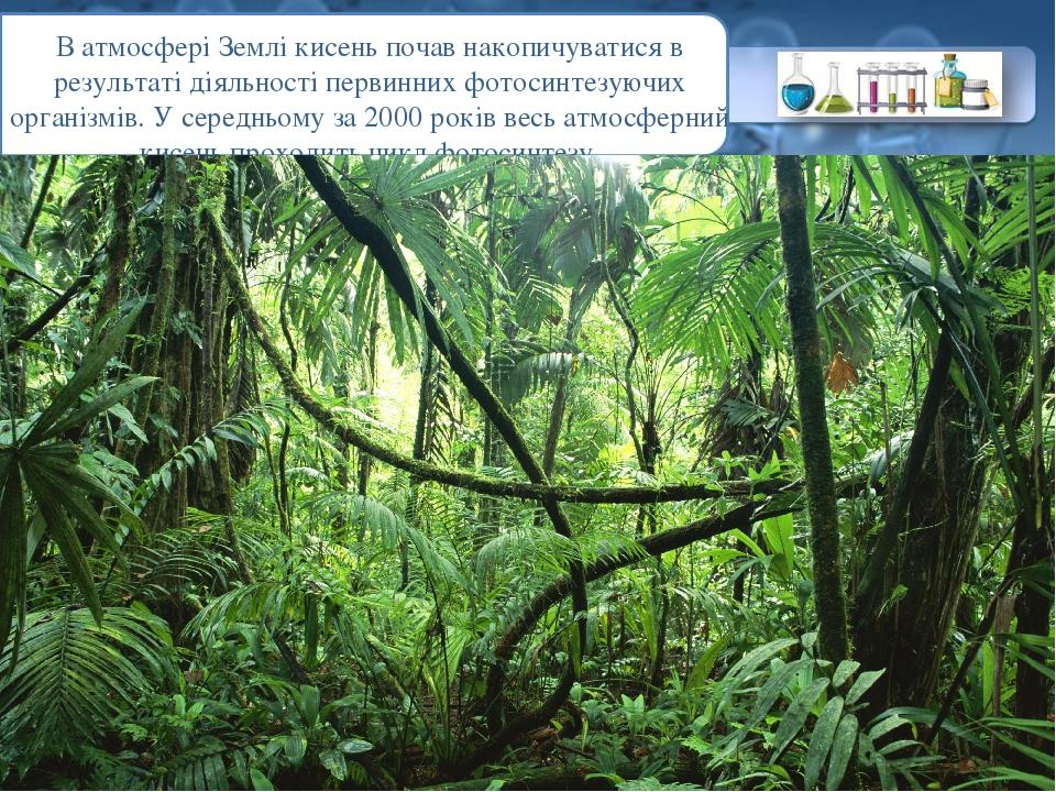 В атмосфері Землі кисень почав накопичуватися в результаті діяльності первинних фотосинтезуючих організмів. У середньому за 2000 років весь атмосфе...