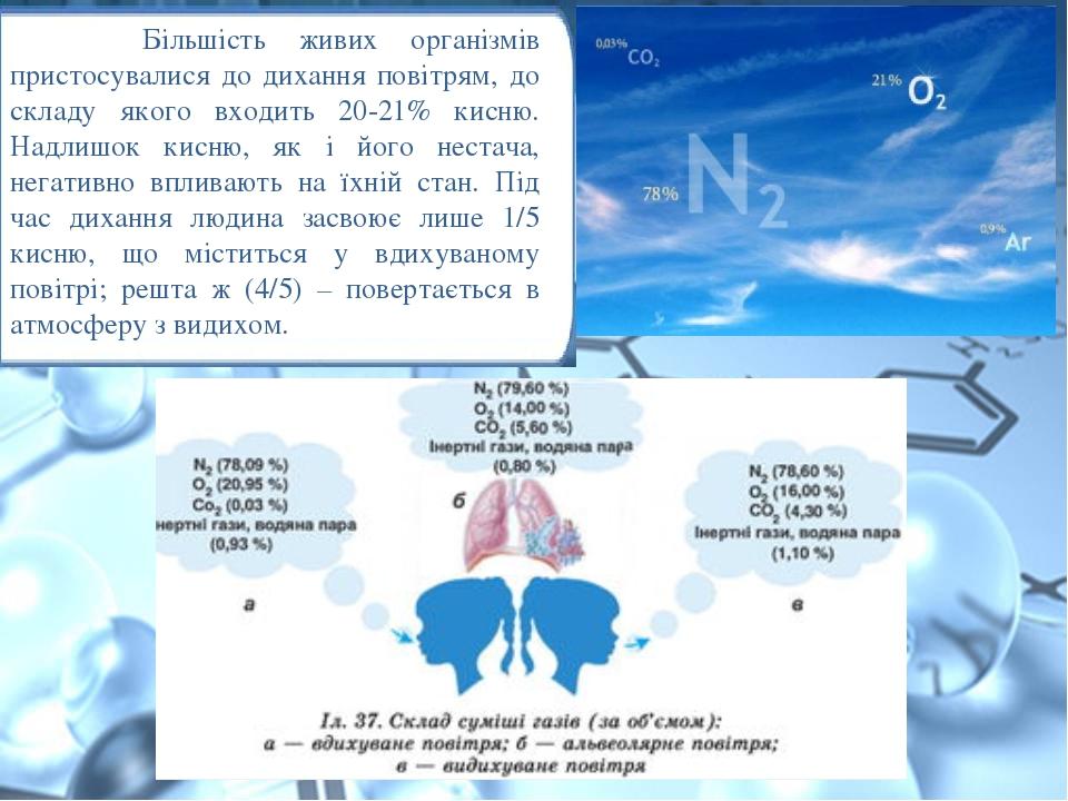Більшість живих організмів пристосувалися до дихання повітрям, до складу якого входить 20-21% кисню. Надлишок кисню, як і його нестача, негативно в...