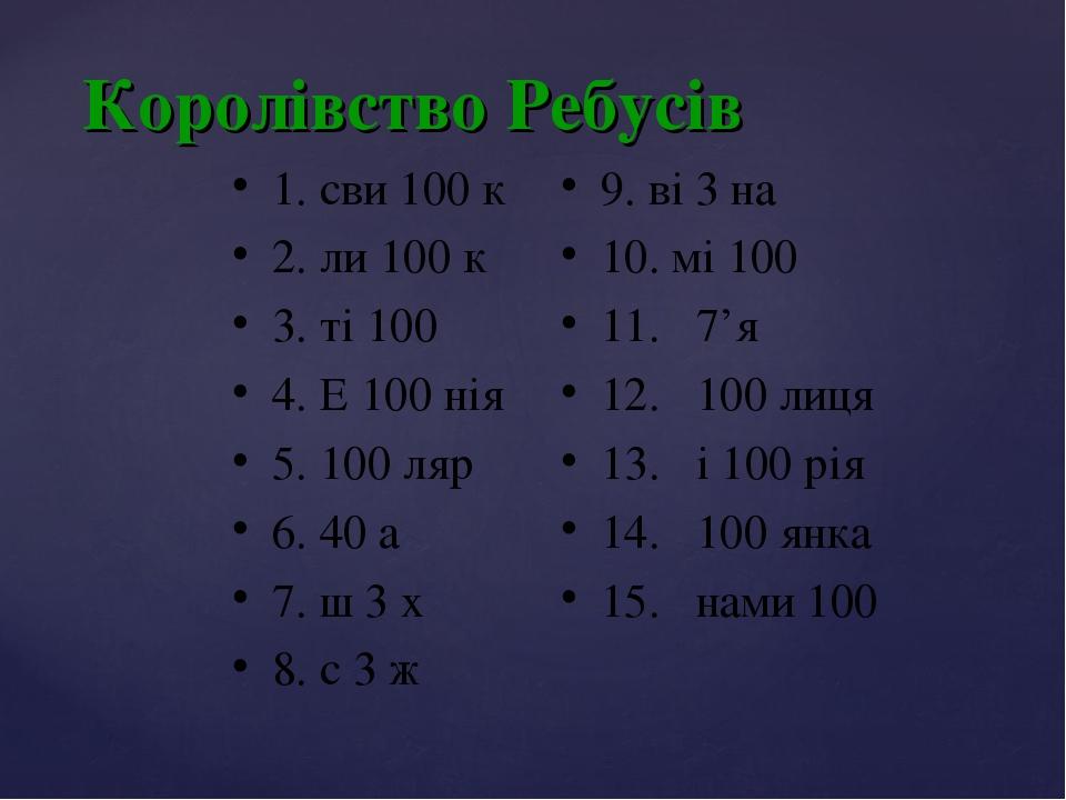 Королівство Ребусів 1. сви 100 к 2. ли 100 к 3. ті 100 4. Е 100 нія 5. 100 ляр 6. 40 а 7. ш 3 х 8. с 3 ж 9. ві 3 на 10. мі 100 11. 7'я 12. 100 лиця...