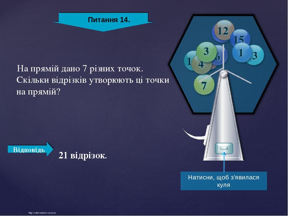 http://edu-teacherzv.ucoz.ru Відповідь На прямій дано 7 різних точок. Скільки відрізків утворюють ці точки на прямій? 21 відрізок. Натисни, щоб з'я...