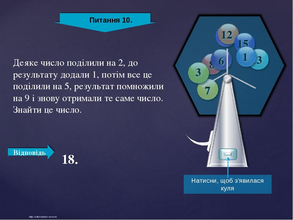 http://edu-teacherzv.ucoz.ru Деяке число поділили на 2, до результату додали 1, потім все це поділили на 5, результат помножили на 9 і знову отрима...