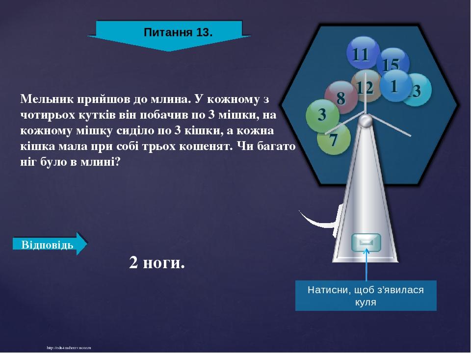 http://edu-teacherzv.ucoz.ru 2 ноги. Мельник прийшов до млина. У кожному з чотирьох кутків він побачив по 3 мішки, на кожному мішку сиділо по 3 кіш...