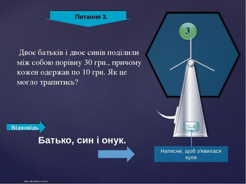 http://edu-teacherzv.ucoz.ru Двоє батьків і двоє синів поділили між собою порівну 30 грн., причому кожен одержав по 10 грн. Як це могло трапитись? ...