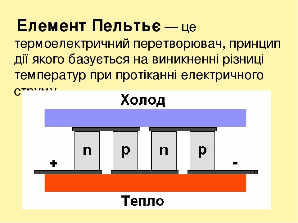Елемент Пельтьє— це термоелектричний перетворювач, принцип дії якого базується навиникненні різниці температур при протіканні електричного струму.