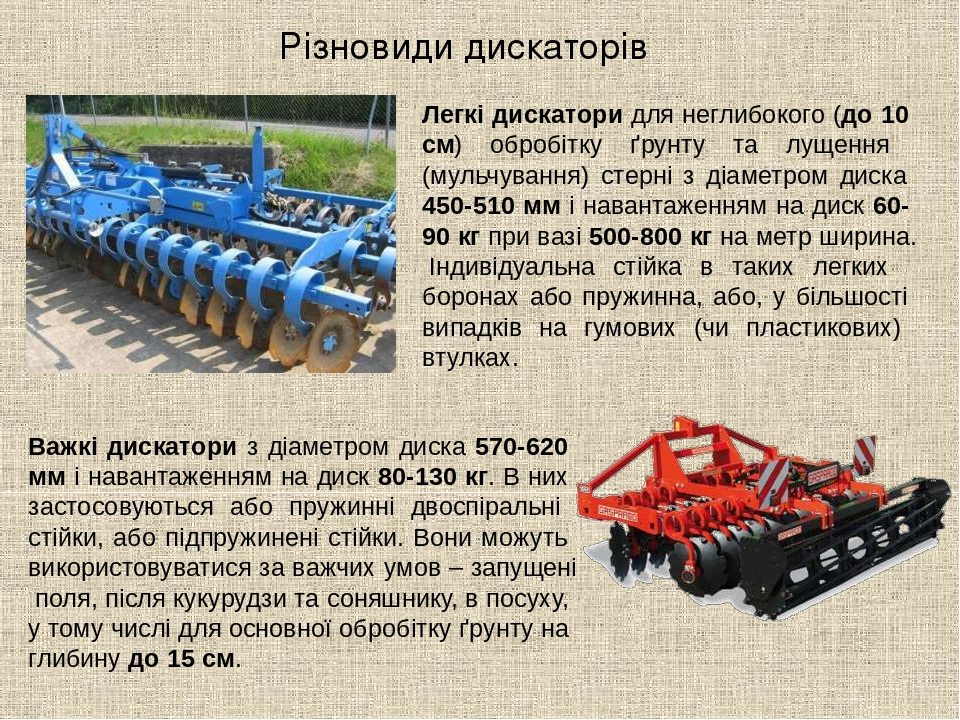 Різновиди дискаторів Легкі дискатори для неглибокого (до 10 см) обробітку ґрунту та лущення (мульчування) стерні з діаметром диска 450-510 мм і нав...
