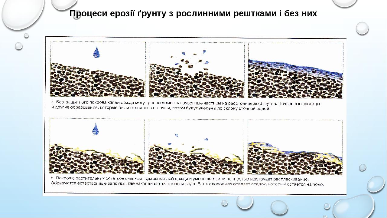 Процеси ерозії ґрунту з рослинними рештками і без них
