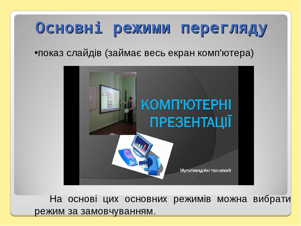 показ слайдів (займає весь екран комп'ютера) На основі цих основних режимів можна вибрати режим за замовчуванням. Основні режими перегляду