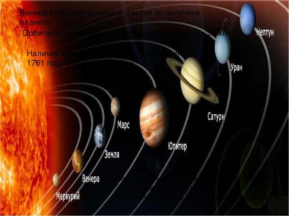 Венера вторая от Солнца и шестая по величине планета. Орбита планеты проходит ближе любой другой кЗемле. Наличие мощной атмосферы установлено в 17...
