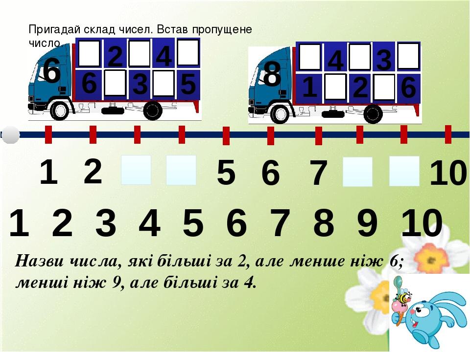 Пригадай склад чисел. Встав пропущене число. 6 6 2 3 4 5 8 1 4 2 3 6 4 2 3 1 5 6 7 8 9 10 1 2 3 4 5 6 7 8 9 10 Назви числа, які більші за 2, але ме...