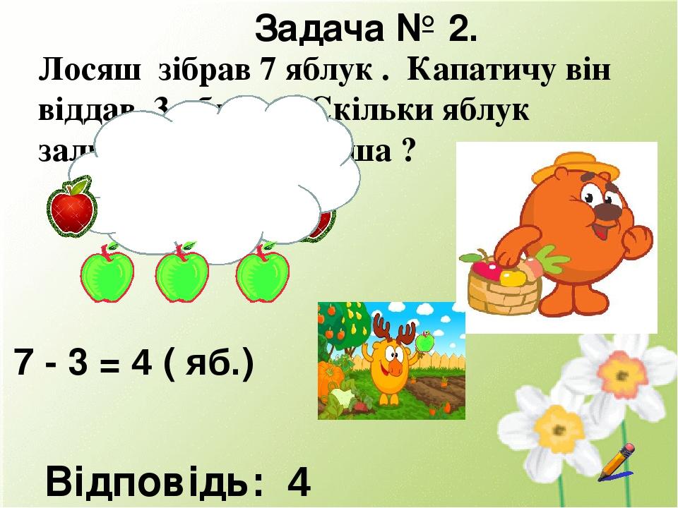 Задача № 2. Лосяш зібрав 7 яблук . Капатичу він віддав 3 яблука . Скільки яблук залишилось у Лосяша ? 7 - 3 = 4 ( яб.) Відповідь: 4 яблука. Діти, р...