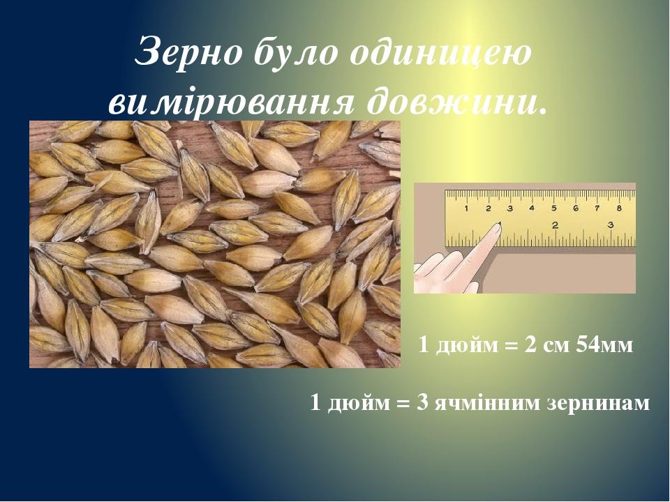 Зерно було одиницею вимірювання довжини. 1 дюйм = 2 см 54мм 1 дюйм = 3 ячмінним зернинам