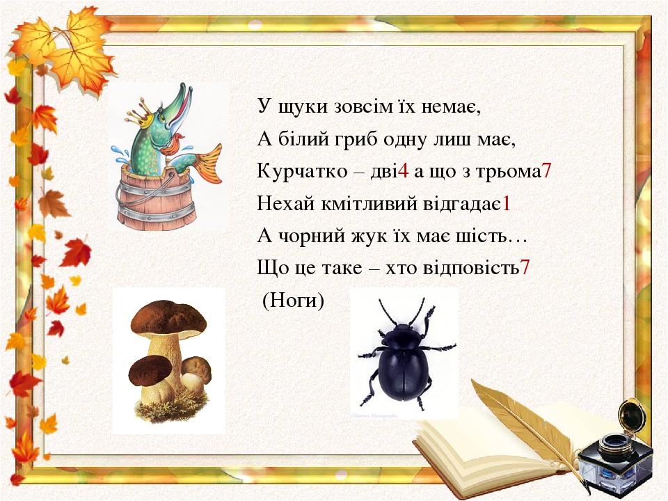 У щуки зовсім їх немає, А білий гриб одну лиш має, Курчатко – дві4 а що з трьома7 Нехай кмітливий відгадає1 А чорний жук їх має шість… Що це таке –...