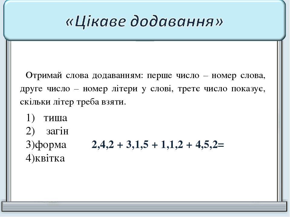 Отримай слова додаванням: перше число – номер слова, друге число – номер літери у слові, третє число показує, скільки літер треба взяти. 1) тиша 2)...