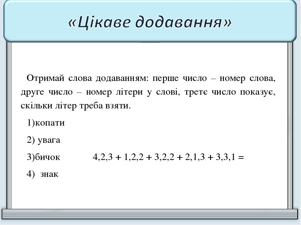 Отримай слова додаванням: перше число – номер слова, друге число – номер літери у слові, третє число показує, скільки літер треба взяти. копати ува...