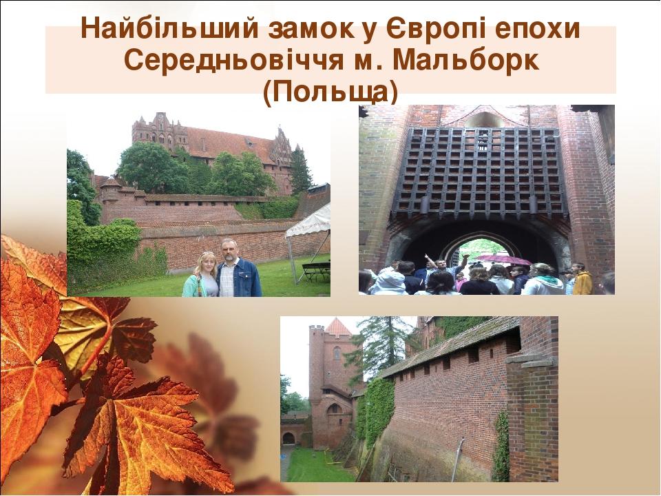 Найбільший замок у Європі епохи Середньовіччя м. Мальборк (Польща)
