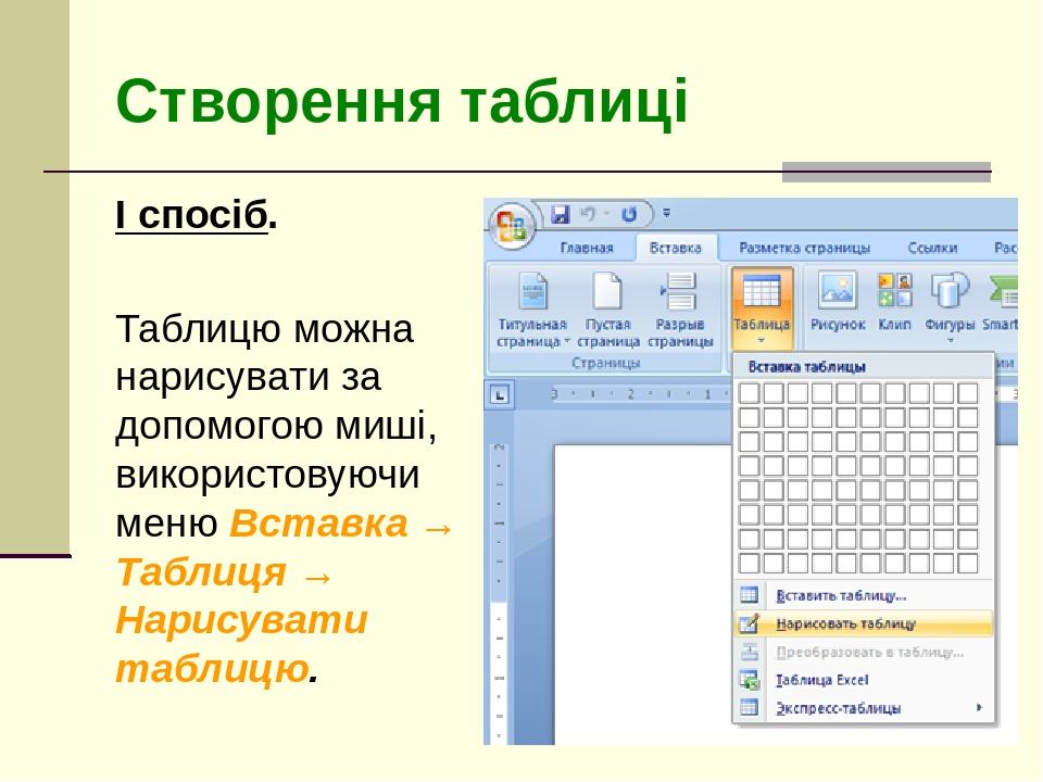 Створення таблиці І спосіб. Таблицю можна нарисувати за допомогою миші, використовуючи меню Вставка → Таблиця → Нарисувати таблицю.