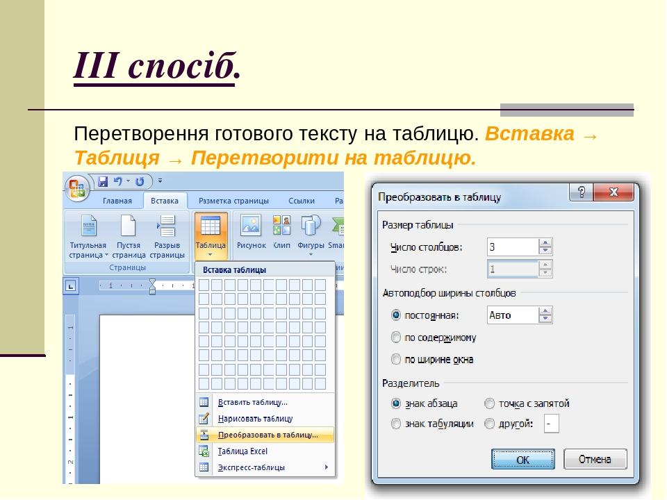 ІІІ спосіб. Перетворення готового тексту на таблицю. Вставка → Таблиця → Перетворити на таблицю.