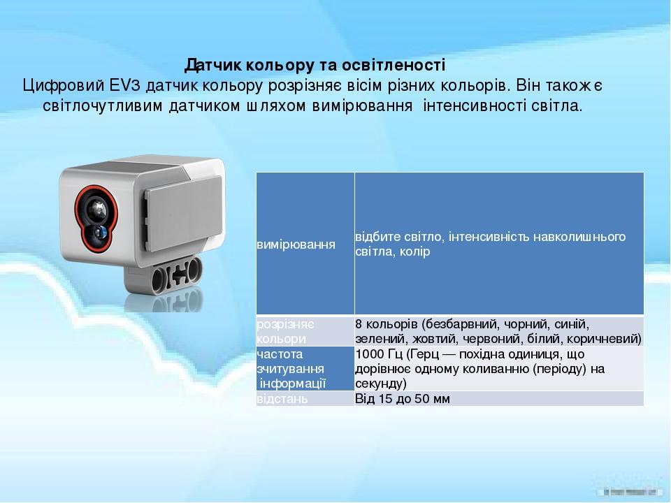 Датчик кольору та освітленості Цифровий EV3 датчик кольору розрізняє вісім різних кольорів.Він також є світлочутливим датчиком шляхом вимірювання ...