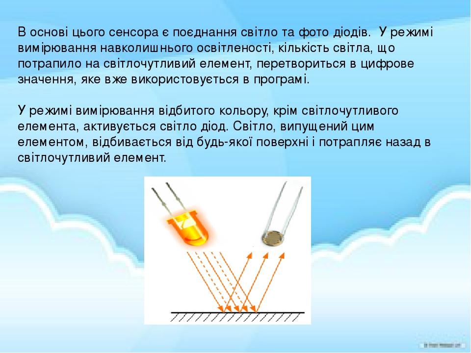 В основі цього сенсора є поєднання світло та фото діодів. У режимі вимірювання навколишнього освітленості, кількість світла, що потрапило на світло...
