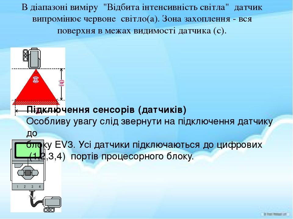 """В діапазоні виміру """"Відбита інтенсивність світла"""" датчик випромінює червоне світло(a).Зона захоплення - вся поверхня в межах видимості датчика (с)..."""