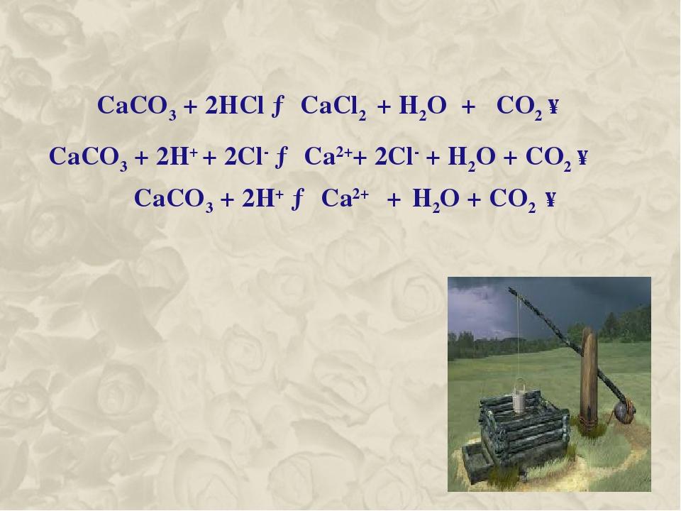 CaCO3 + 2HCl → CaCl2 + H2O + CO2 ↑ CaCO3 + 2H+ + 2Cl- → Ca2++ 2Cl- + H2O + CO2 ↑ CaCO3 + 2H+ → Ca2+ + H2O + CO2 ↑