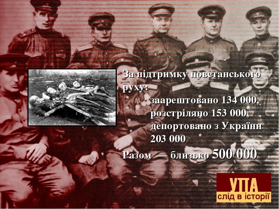 За підтримку повстанського руху: заарештовано 134 000, розстріляно 153 000, депортовано з України 203 000 Разом — близько 500 000