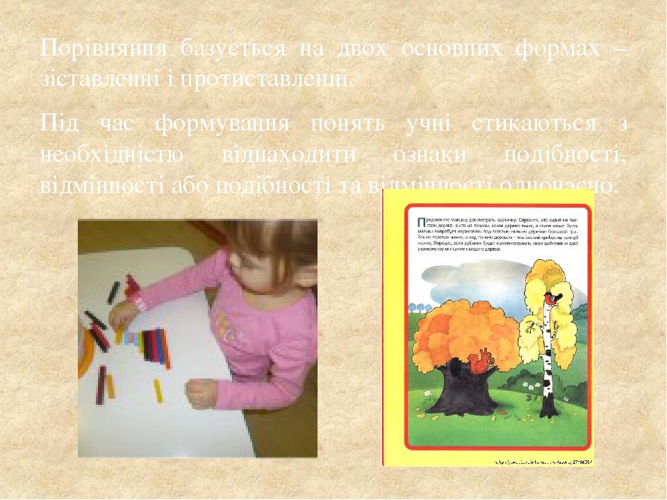 Порівняння базується на двох основних формах – зіставленні і протиставленні. Під час формування понять учні стикаються з необхідністю віднаходити о...