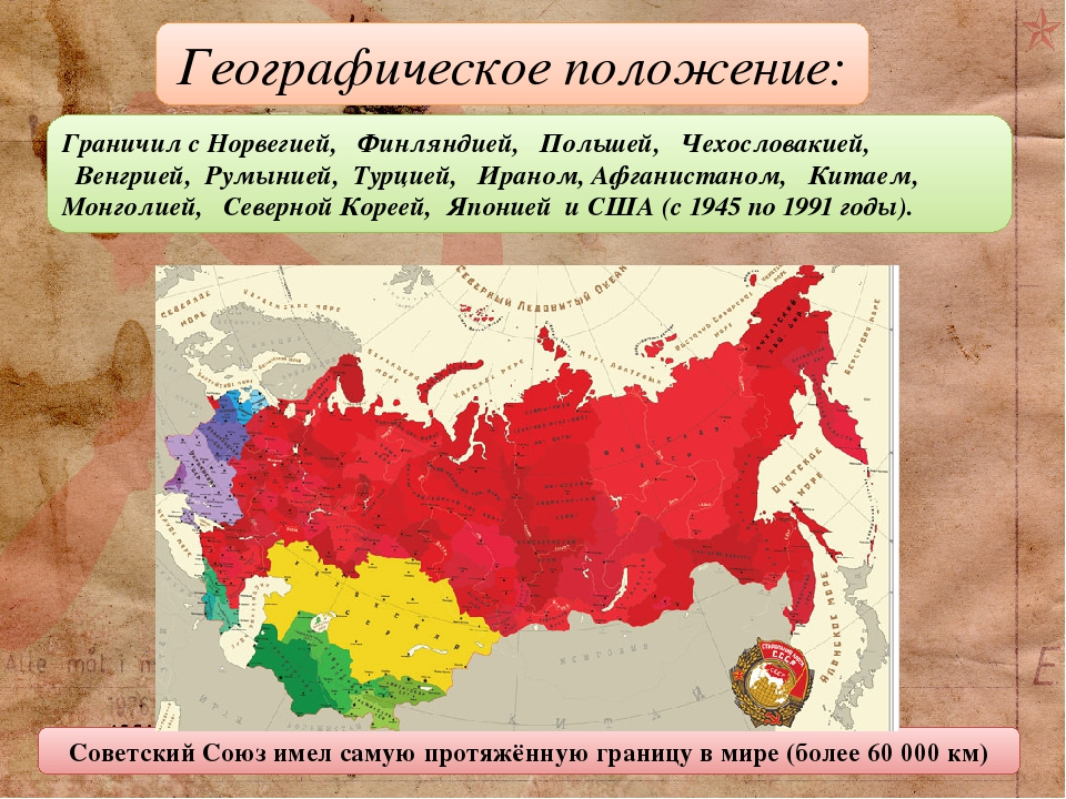Граничил сНорвегией, Финляндией, Польшей, Чехословакией, Венгрией, Румынией, Турцией,  Ираном, Афганистаном, Китаем,  Монголией, Северно...