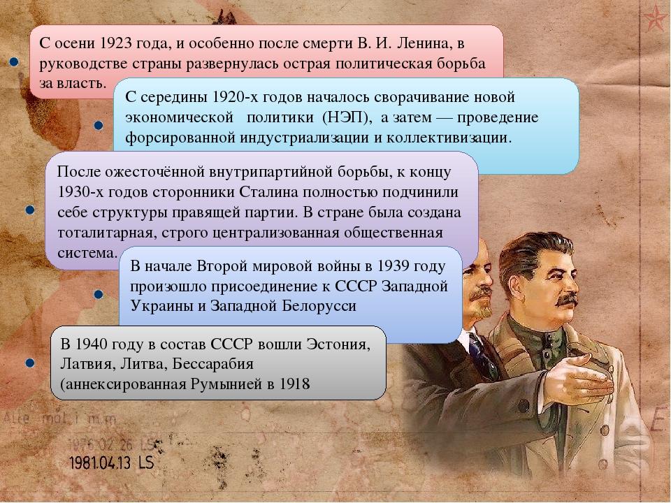 С осени 1923 года, и особенно после смерти В. И. Ленина, в руководстве страны развернулась острая политическая борьба за власть. С середины 1920-х ...