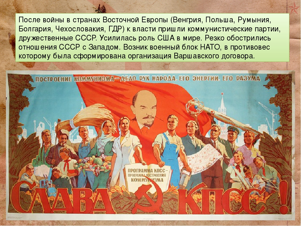 После войны в странах Восточной Европы (Венгрия, Польша, Румыния, Болгария, Чехословакия, ГДР) к власти пришли коммунистические партии, дружественн...
