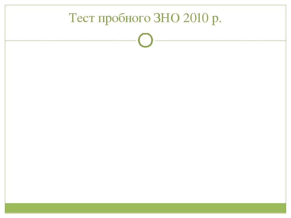 Тест пробного ЗНО 2010 р.