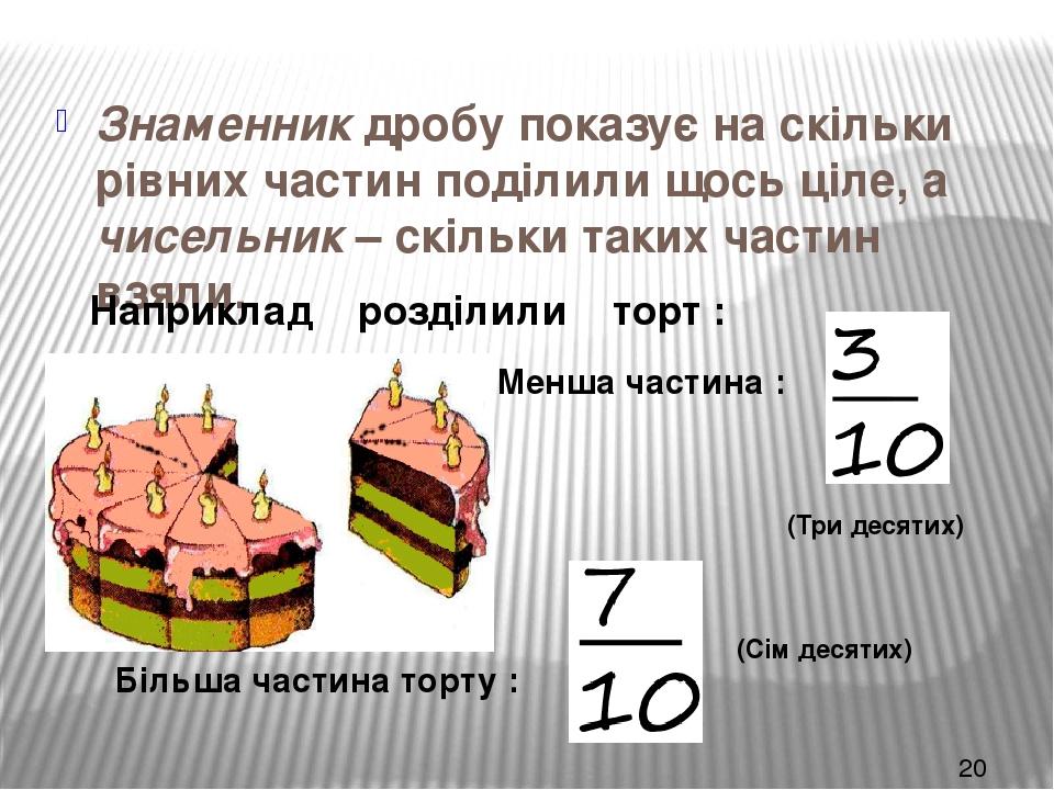 Знаменник дробу показує на скільки рівних частин поділили щось ціле, а чисельник – скільки таких частин взяли. Наприклад розділили торт : Менша час...