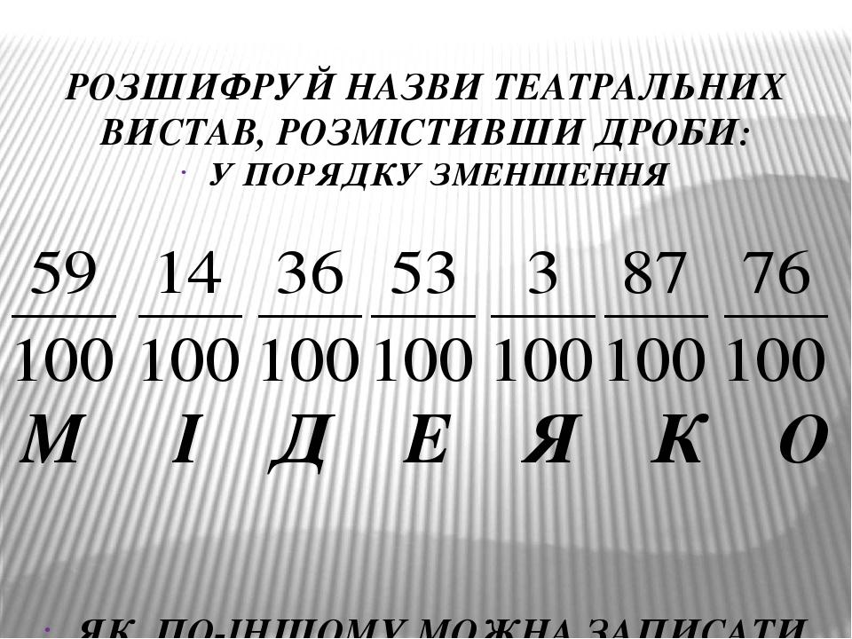 РОЗШИФРУЙ НАЗВИ ТЕАТРАЛЬНИХ ВИСТАВ, РОЗМІСТИВШИ ДРОБИ: У ПОРЯДКУ ЗМЕНШЕННЯ М І Д Е Я К О ЯК ПО-ІНШОМУ МОЖНА ЗАПИСАТИ ДРОБИ ЗІ ЗНАМЕННИКОМ 100?