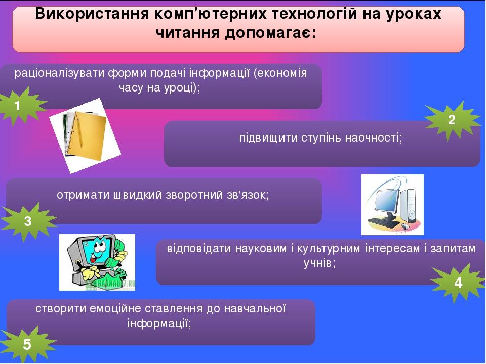Використання комп'ютерних технологій на уроках читання допомагає: раціоналізувати форми подачі інформації (економія часу на уроці); підвищити ступі...