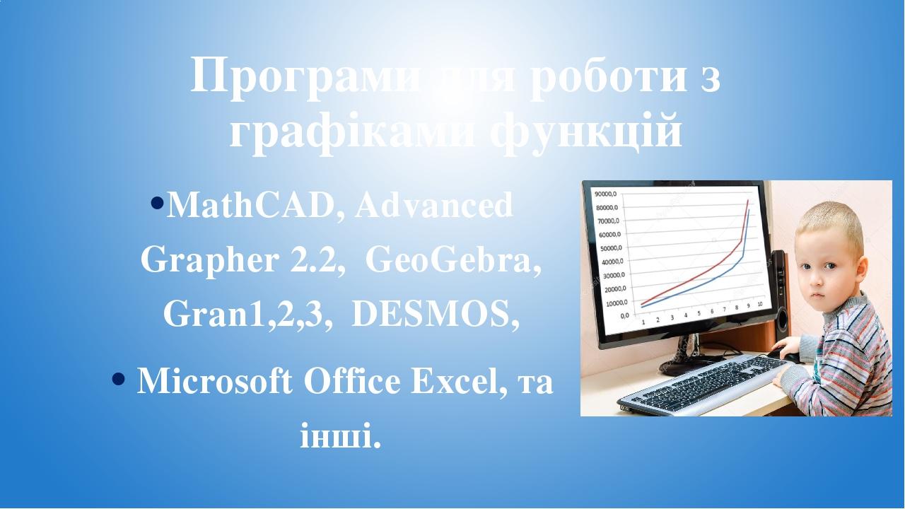 Програми для роботи з графіками функцій MathCAD, Advanced Grapher 2.2, GeoGebra, Gran1,2,3, DESMOS, Microsoft Office Excel, та інші.