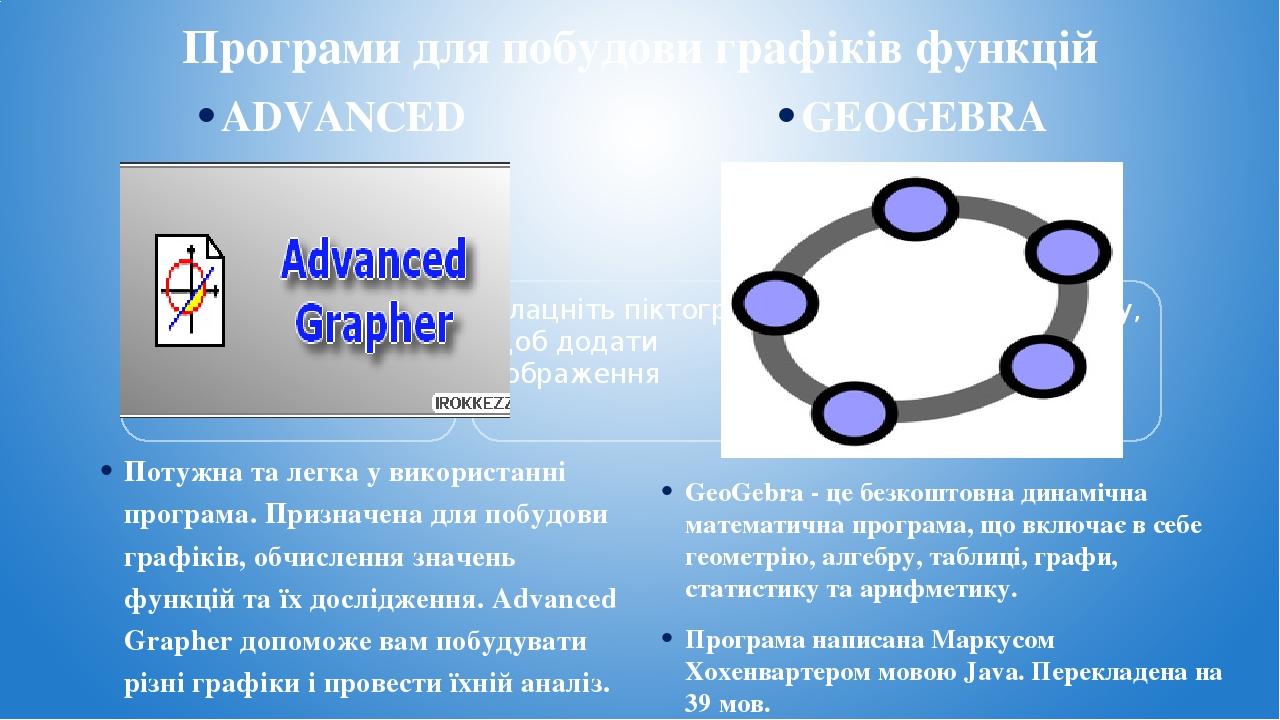 Програми для побудови графіків функцій ADVANCED GRAPHER Потужна та легка у використанні програма. Призначена для побудови графіків, обчислення знач...