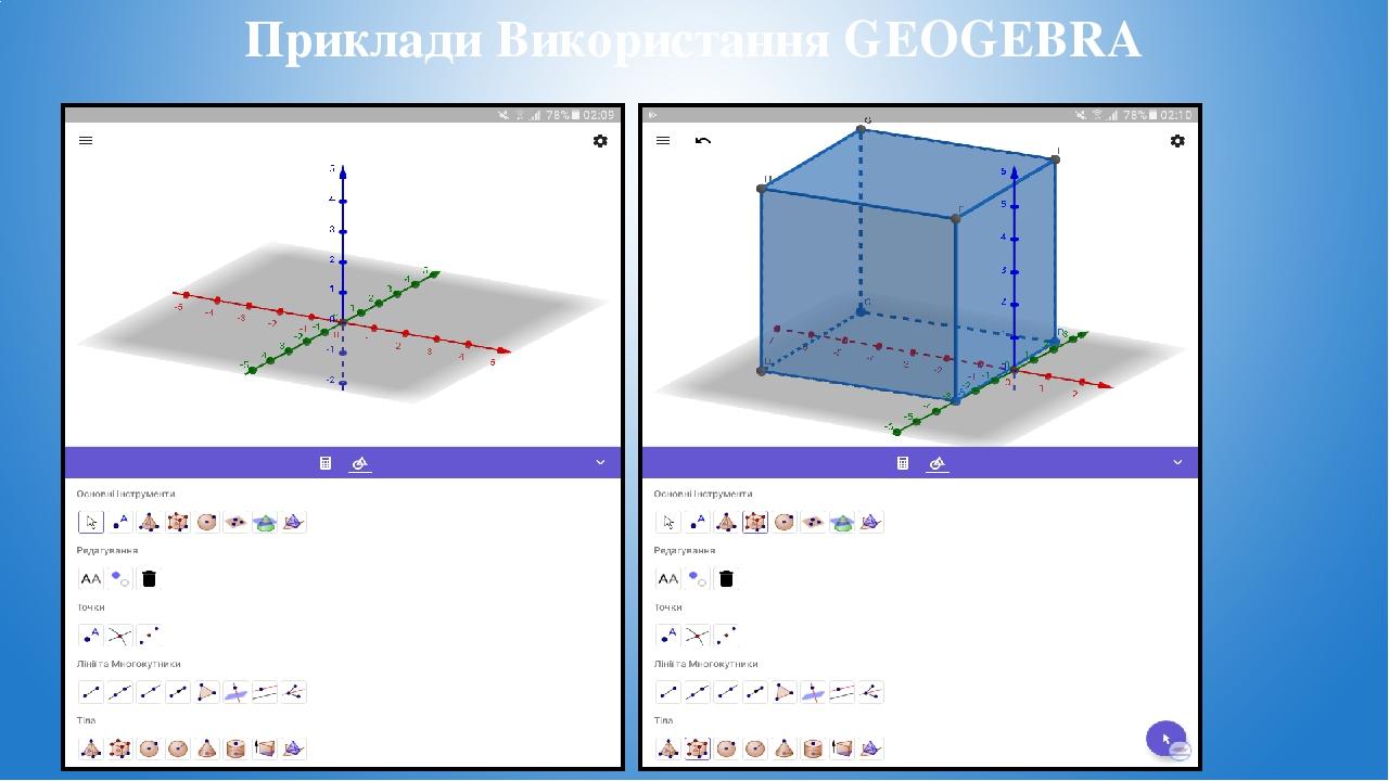 Приклади Використання GEOGEBRA