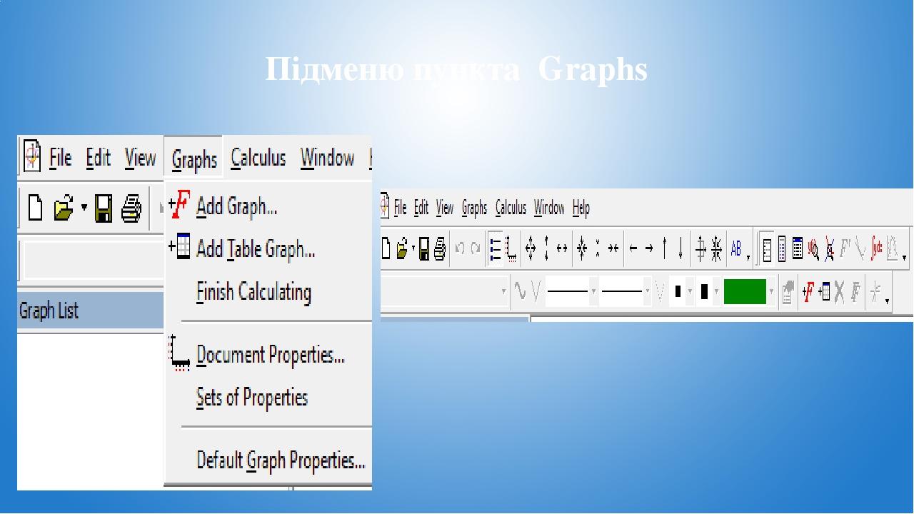 Підменю пункта Graphs