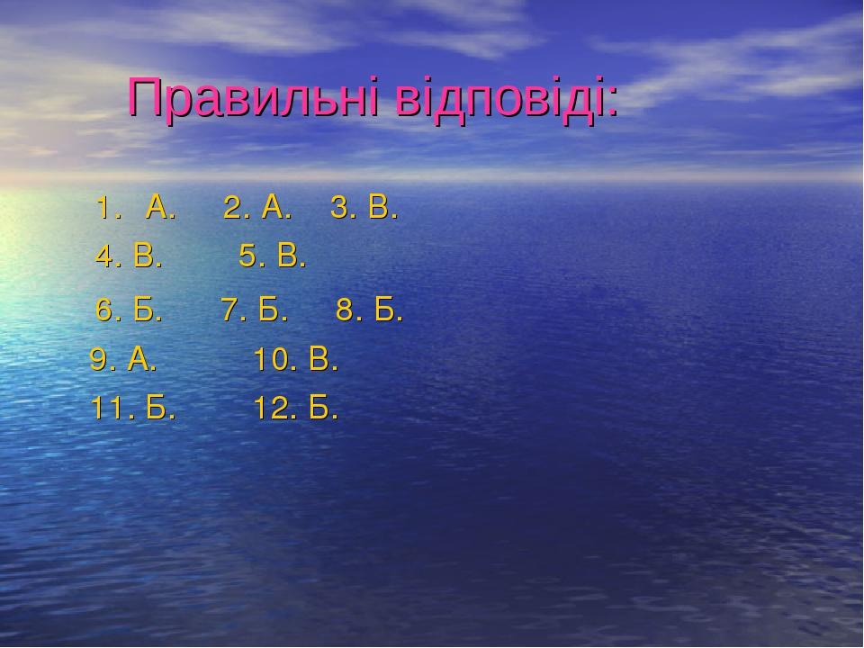 Правильні відповіді: А. 2. А. 3. В. 4. В. 5. В. 6. Б. 7. Б. 8. Б. 9. А. 10. В. 11. Б. 12. Б.