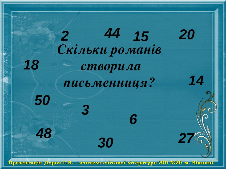 18 2 44 50 20 3 6 30 14 48 15 27 Скільки романів створила письменниця?