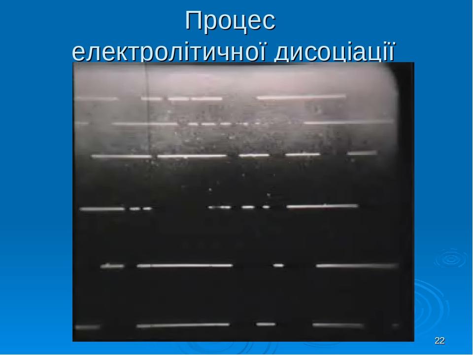 * Процес електролітичної дисоціації