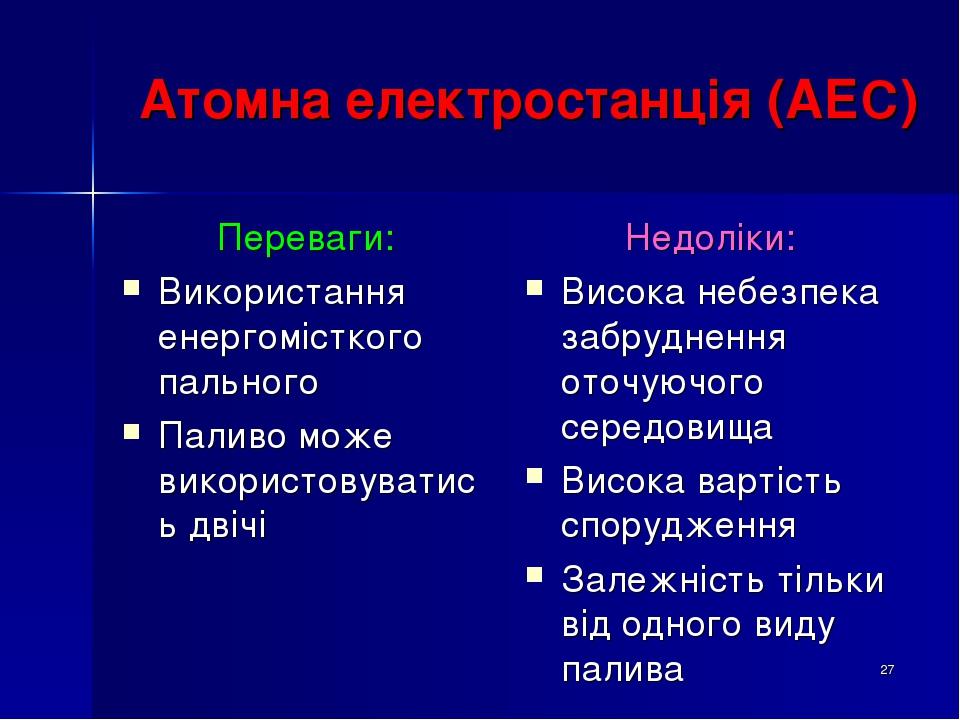 * Атомна електростанція (АЕС) Переваги: Використання енергомісткого пального Паливо може використовуватись двічі Недоліки: Висока небезпека забрудн...