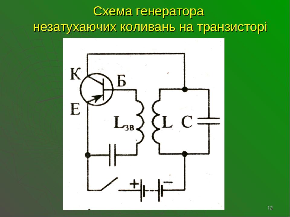 * Схема генератора незатухаючих коливань на транзисторі